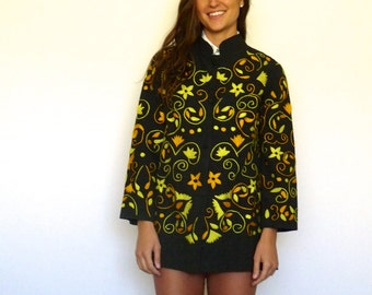 60s Colorful Embroidered Mandarin Collar Light Jacket xs s m