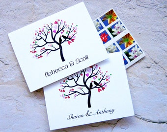 Family Tree Note Cards, Made to Order, Doves in a Tree, Personalized Card/Love Couple Thank You/Wedding Engagement Casual Note Thank You