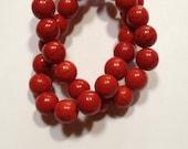 Classic Valentine Red - Howlite Beads - 10mm - 20 beads