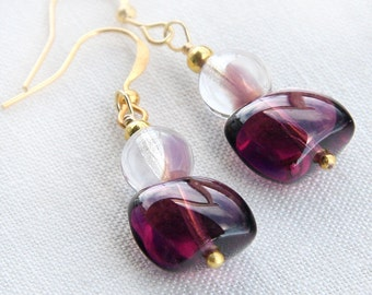 Summer Party Gift Purple Plum Glass Earrings Two Tone Burgundy Earrings Girlfriend Gift for woman Purple Jewelry 925 Silver or Gold Earrings