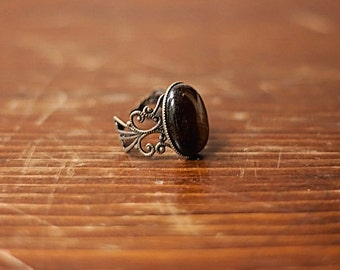 Handmade Black Onyx Ring Black Stone Ring Antiqued Gold Filigree Ring Black Ring Black Gemstone Ring Black Oval Ring