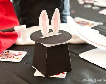 Magic Hat Favor Box : DIY Printable Rabbit in the Hat Gift Box PDF // Magic Show Favor // Magician // Magic Wand  - Instant Download