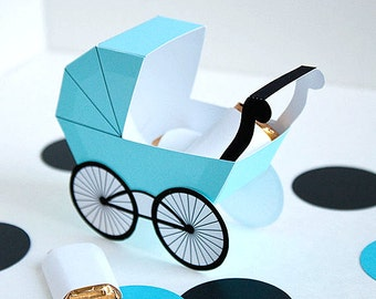 Baby Carriage Favor Box - Light Turquoise : DIY Printable Baby Buggy Gift Box | Pram | Print at Home Digital File - Instant Download