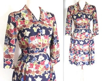 Vintage 1940's Dress // 40s Floral Print Day Dress // 40s Garden Party // DIVINE