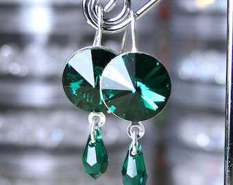 ON SALE - Emerald Green Modern Crystal Earrings - OOAK- Swarovski Crystal Earrings in Dark Green