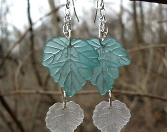 Leaf Dangle Earrings, green white and silver lightweight frosted acrylic leaf statement earrings, great for spring & summer