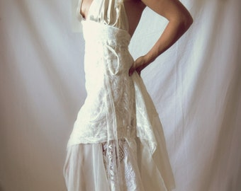 made to order your own custom wrap wedding dress shabby chic hippie boho style