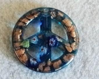 Murano Glass, Peace Sign, Pendant, Murano Glass Pendant, Sky Blue, Destash, Destash Supplies, Jewelry Supplies, Beading Supplies, - 2 in.
