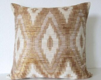 Decorative pillow cover - 20x20 - Ikat - Metallic Gold - Ikat Throw Pillow Cover
