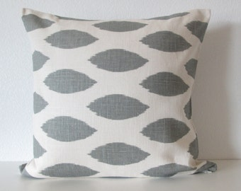 Gray white linen ink blot throw pillow cover decorative pillow cover