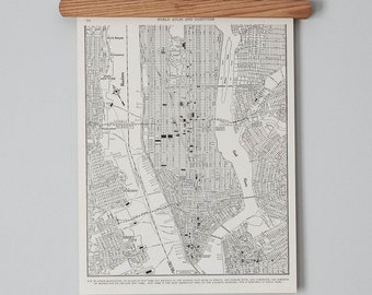Antique City Map of 1940s Lower Manhattan | Downtown New York City Map
