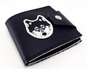 Black Wolf Wallet, Hand Made of Heavy Duty Vegan Leather