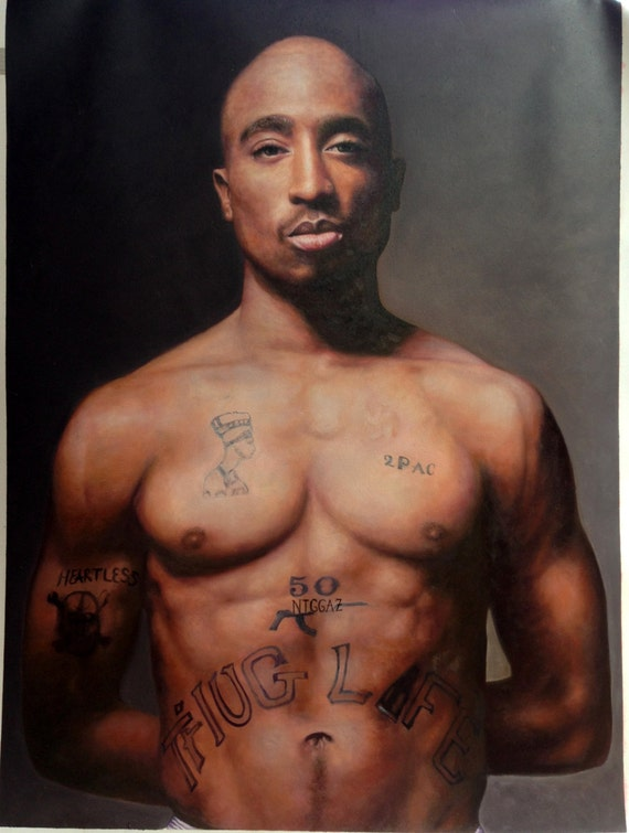 tupac 2pac shakur oil painting on canvas 24x32 inch by