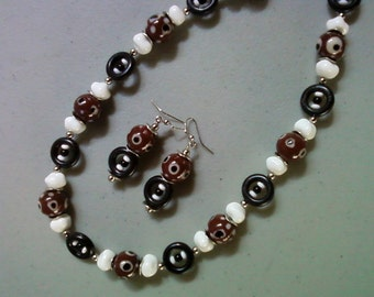Brown, Black and White Ethnic Inspired Necklace and Earrings (1480)