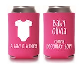 Personalized Baby Shower Favors, A Baby is Brewing Can Coolers, Gender Reveal Party Gifts, Custom Beer Hugger, Beverage Insulators, Beer