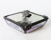 Spotted Seashell Diamond Shaped Beveled Glass Jewelry Box - Smokey Black Crystal Quartz - Antique Crushed German Glass - Ocean Life