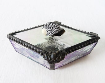 Spotted Seashell Diamond Shaped Beveled Glass Jewelry Box - Smokey Black Crystal Quartz - Antique Crushed German Glass - Ocean Life