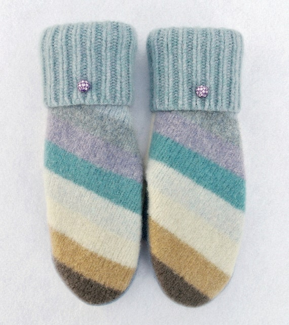 BLUE STRIPED 100% WOOL Women's Recycled Sweater Mittens.  Blue Mittens. Purple. Christmas. Winter. Holidays. Gloves. Striped Mittens