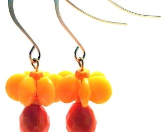 Handmade Costume Jewelry Celosia Orange Pinwheel Dangle Earrings