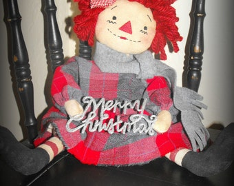 """Primitive """"Christmas Annie"""" Raggedy Doll Instant download e-Pattern"""
