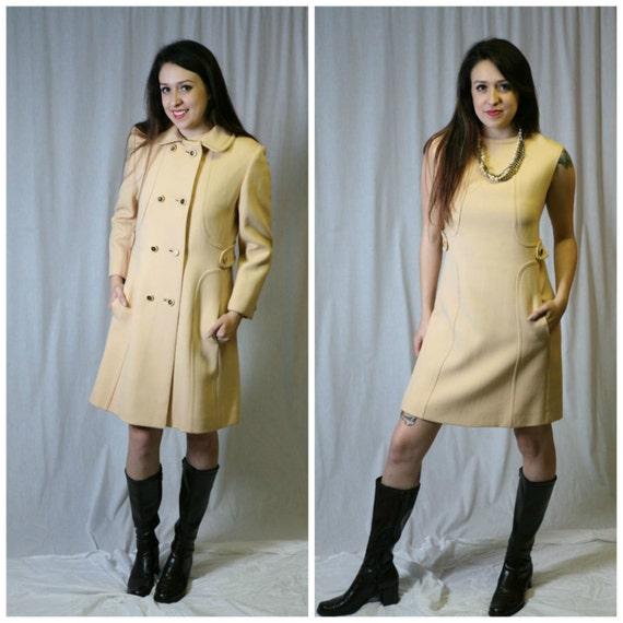 NOS 2 Piece Vintage 60s Shift Dress Suit: Gorgeous Classic Coat Suit