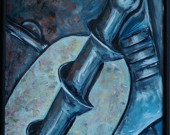 Original Abstract Art, Cold Steel, Industrial Art, 12 x 16 Comtemporary Abstract Acrylic  Painting