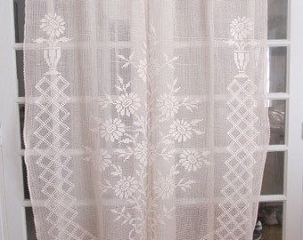 Crochet Curtain, French Filet Lace Panel, Vintage Filet Crochet, Tassel Curtain Panel
