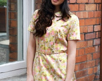 Penny, Vintage, 1960s Pastel Floral Shift Mini Dress