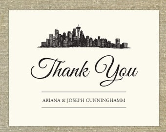 Seattle Washington Skyline Thank You cards with matching envelopes; set of 25 wedding thank you cards, any occasion