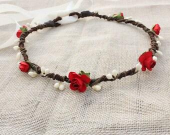 ALONA Romantic rose floral headpiece Bohemian Flower Crown Red hair Wreath Boho headdress Renaissance Red Roses Headpiece red riding hood