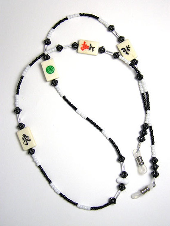 Ann Israel's Fav Black and White Mahjong Eyeglass Leash