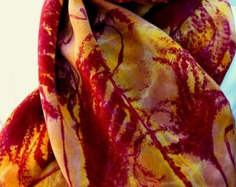 silk scarf crepe Wild Grass red raisin gold amber large long unique hand painted luxury