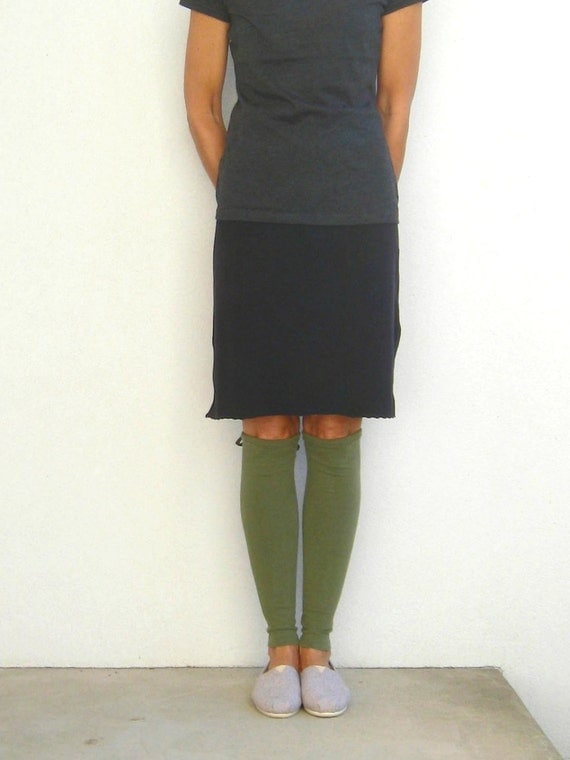 T Shirt Leg Warmers / Dark Olive Green / Fall / Autumn / Winter / Soft / Cotton / Stretch / Recycled / Upcycled / tagt team / tagt / ohzie