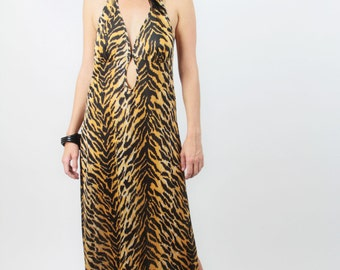Vtg Sexy 70s TIGER STRIPE Halter MAXI Dress Sz L  // Key Hole Cleavage Cutout  Extra High Side Slits