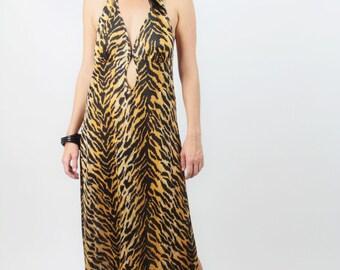 Vtg TIGER Lingerie SLIP Halter MAXI Dress Sz L  // Key Hole Cutout  Extra High Side Slits