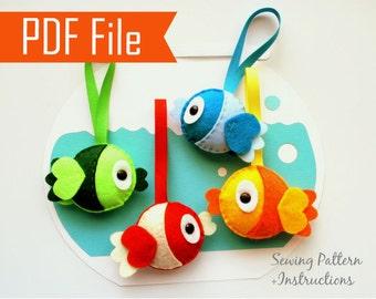 Fish Bowl Sewing Pattern, PDF Felt Fish Plush Kids craft Project  Instant Download A873