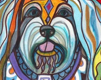 Havanese art dog Poster Print of painting by Heather Galler (HG510)