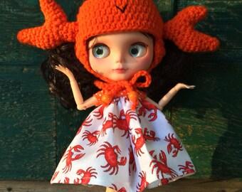 Crochet Crab Hat Beanie Helmet for Blythe Doll