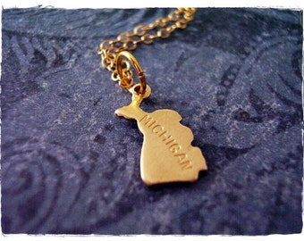 Tiny Gold Michigan State Necklace - Raw Brass Michigan State Charm on a Delicate 14kt Gold Filled Cable Chain or Charm Only