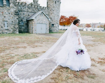 Wedding Veil - Cathedral Drop Two-Tier Mantilla with Double French Alencon Lace at Train