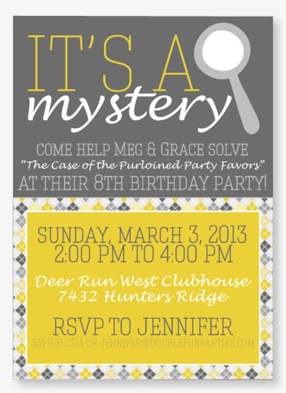 nancy drew party printable invitation by love the day