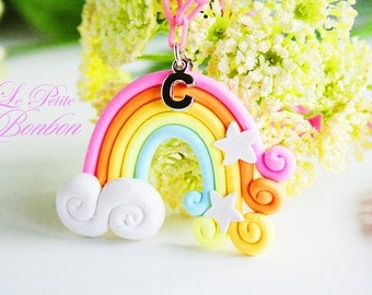 Care bears rainbow with initials necklace