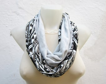 Geometric Print Infinity Scarf, Loop Scarves, Circle Accessory, Cowl Scarf, Combed Fabric Necklace, Grey Black Brown Neckwarmer, Tube Scarf