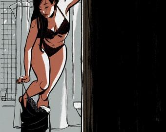 Bathroom Pinup, Giclee Art Print