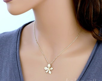Flower necklace, gold or silver delicate floral charm pendant, sterling or gold filled chain, bridesmaid gift, wedding jewelry, by balance9