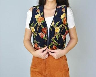 Vintage Leonard 60s 70s Signed Vest Velvet Boho Floral Hippie Cropped Vest XS S M Rare Autumn Rust Fall