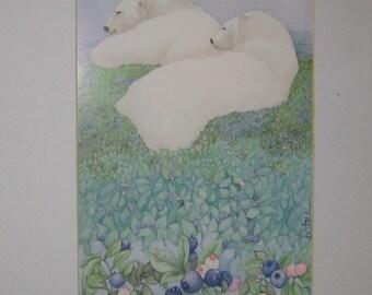 Vintage art print, polar bears, matted