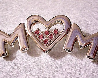 Mom Pink Crystal Heart Pin Brooch Silver Tone Vintage Round Faceted Fuchsia Stones Mothers Day Capital Letters Chrome Like Finish
