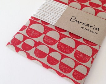 Hand printed paper // sheet of recycled paper // eco gift wrap // red-on-natural hand printed paper
