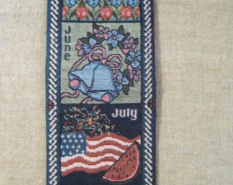 Vintage Woven Tapestry Bell Pull / Months of the Year Hanging Tapestry / 80's Tapestry Wall Hanging